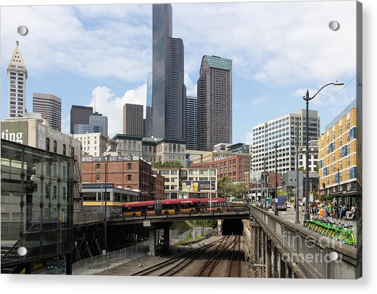 Train Tracks Servicing King Street Station Near Centurylink Field And T-mobile Park Seattle R1478 Acrylic Print