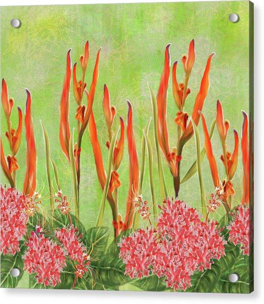 Tropical Floral Print Lime Green Batik Acrylic Print