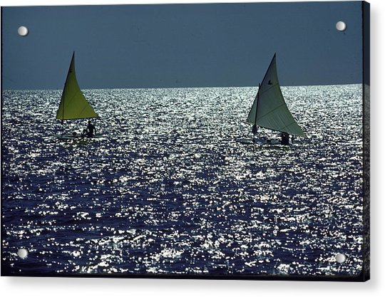Two Little Sailboats Sails Full In The Acrylic Print