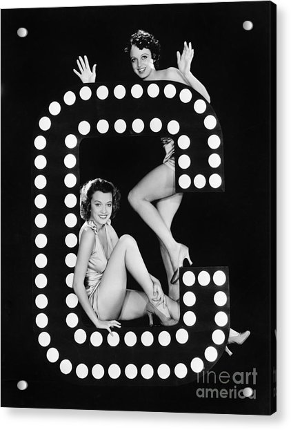 Two Young Women Posing With The Letter C Acrylic Print
