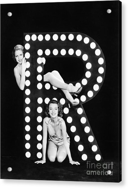 Two Young Women Posing With The Letter R Acrylic Print
