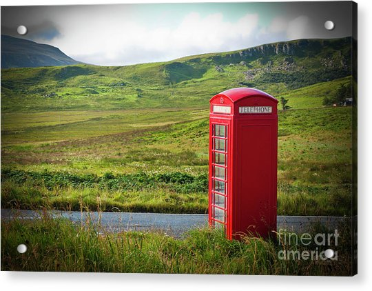 Typical Red English Telephone Box In A Rural Area Near A Road. Acrylic Print