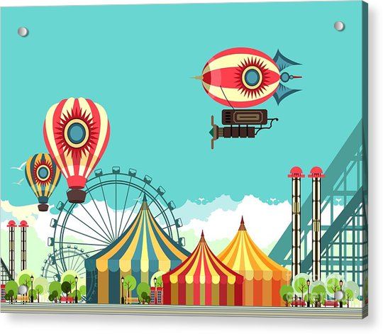Vector Illustration Carnival Circus Acrylic Print by Marrishuanna