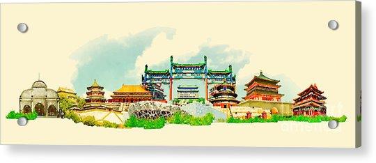 Vector Watercolor Beijing City Acrylic Print by Trentemoller