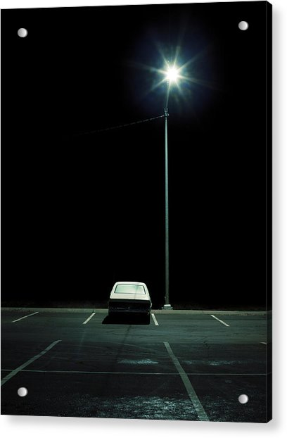 Vehicle In Parking Lot At Night Acrylic Print