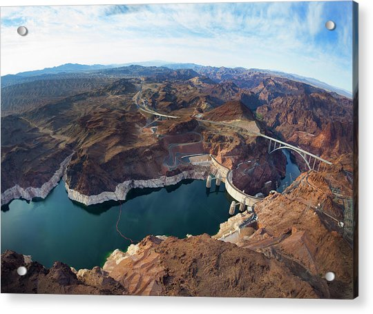 View Of Lake Mead And Hoover Dam Acrylic Print by Derek E. Rothchild