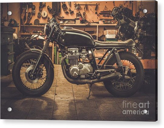 Vintage Style Cafe-racer Motorcycle In Acrylic Print