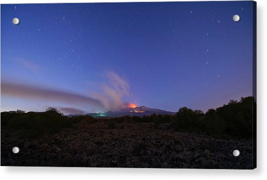 Acrylic Print featuring the photograph Volcano Etna Eruption by Mirko Chessari