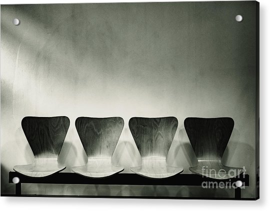 Waiting Room With Empty Wooden Chairs, Concept Of Waiting And Passage Of Time, Black And White Image, Free Space For Text. Acrylic Print