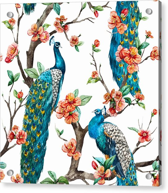 Watercolor Pattern Peacock On A Tree Acrylic Print