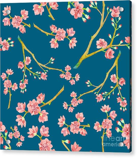 Watercolor Sakura Pattern. Seamless Acrylic Print