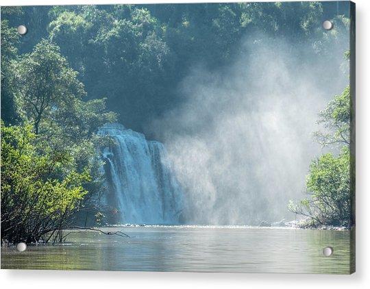 Waterfall, Sunlight And Mist Acrylic Print