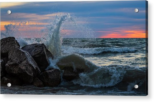 Wave Vs Rock Acrylic Print