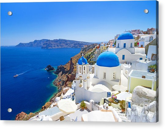 White Architecture Of Oia Village On Acrylic Print by Patryk Kosmider