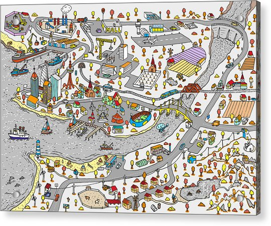 Winter Doodle Town. Map Drawn By Hand Acrylic Print