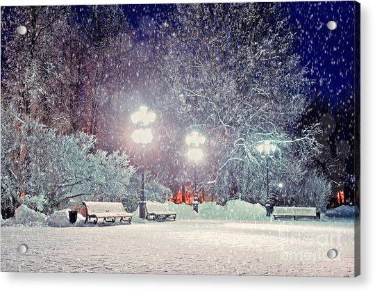Winter Night Landscape -  Evening In Acrylic Print by Marina Zezelina