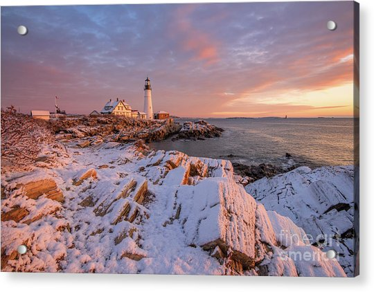 Winter Sunrise At Portland Head Light Acrylic Print