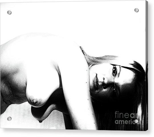 Woman By Portrait  Acrylic Print by ManDig Studios