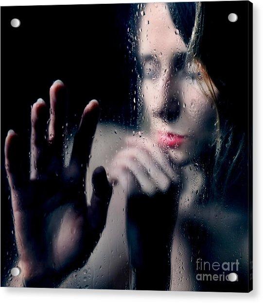 Woman Portrait Behind Glass With Rain Drops Acrylic Print