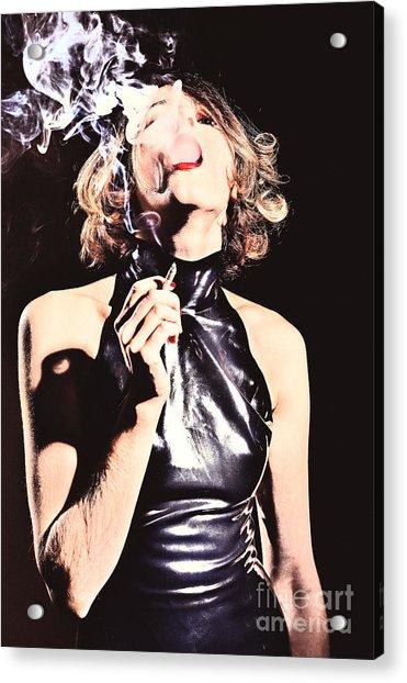 Woman Smoking A Cigarette Acrylic Print