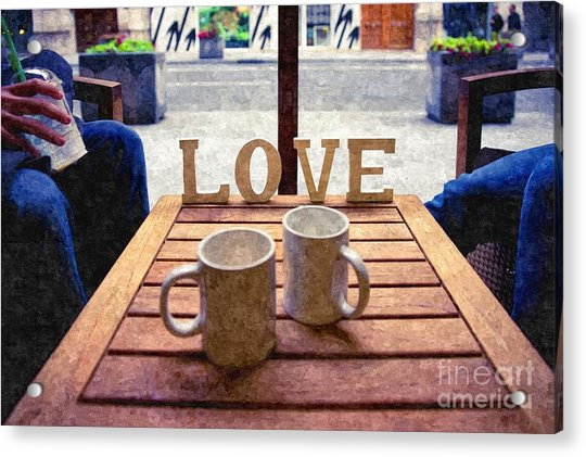 Word Love Next To Two Cups Of Coffee On A Table In A Cafeteria,  Acrylic Print