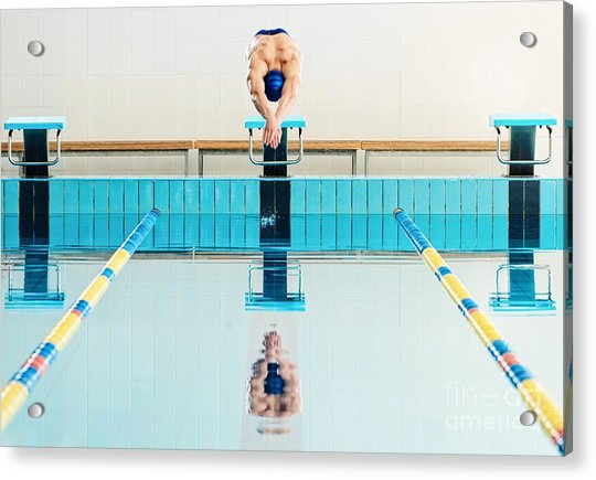 Young Muscular Swimmer Jumping From Acrylic Print