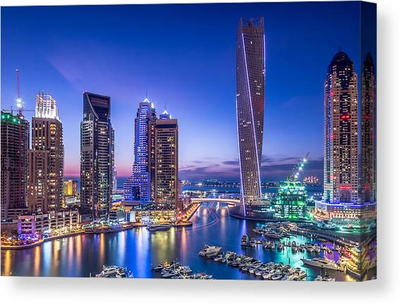 STUNNING DUBAI SKYLINE AT NIGHT LIGHTS CANVAS PRINT WALL ART PICTURE PHOTO
