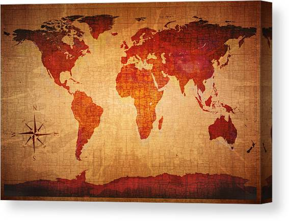 Ancient Map Huge A0 size 84x118.8cm QUALITY Decor Canvas Print Poster Unframed
