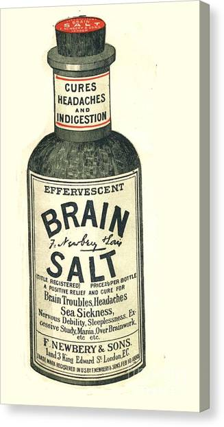 Humor Canvas Print -  1890s Uk Brain Salt Headaches Humour by The Advertising Archives