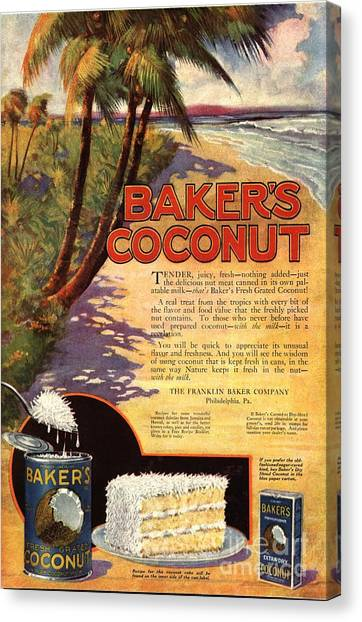 1910s Usa Bakers Coconuts Cakes Baking Canvas Print by The Advertising Archives
