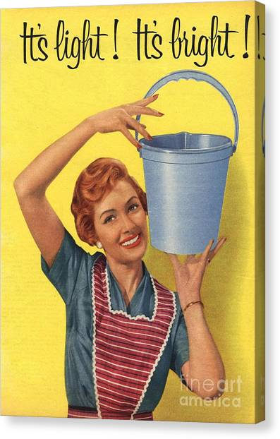 1950s Uk Housewife Housewives Buckets Canvas Print by The Advertising Archives
