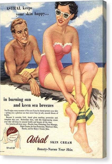 Vintage Canvas Print -  1950s Uk Sun Creams Lotions Tan by The Advertising Archives