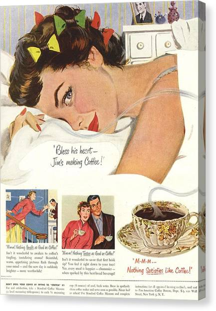 1950s Usa Sleep Sleeping Coffee Smell Canvas Print by The Advertising Archives