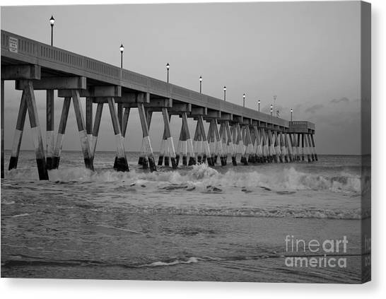A Black And White Of Johnnie Mercers Pier At Daybreak Canvas Print