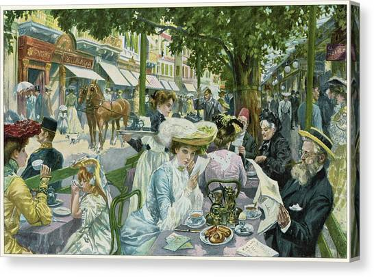 A Busy Time In The 'alte  Wiese' Cafe Canvas Print by Mary Evans Picture Library