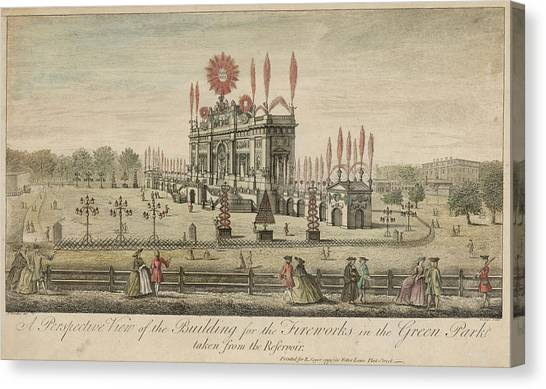 A Fireworks Display At Green  Park Canvas Print by Mary Evans Picture Library