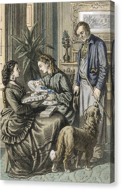 New Baby Canvas Print -  A German Household With  A Fascinating by Mary Evans Picture Library