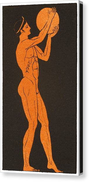 A Greek Discus Thrower Canvas Print by Mary Evans Picture Library
