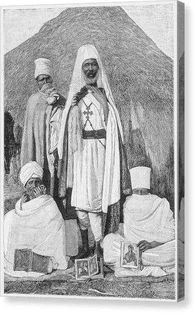 Coptic Art Canvas Print -  A Group Of Coptic Priests, Eritrea by Mary Evans Picture Library