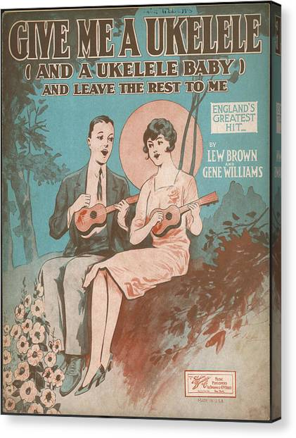 Ukuleles Canvas Print -  A Happy Couple Singing By  Moonlight by Mary Evans Picture Library