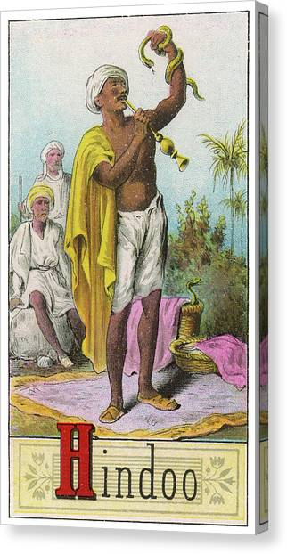 A Hindu Snake Charmer Canvas Print by Mary Evans Picture Library