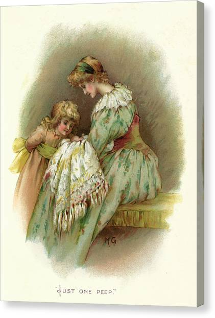 New Baby Canvas Print -  A Little Girl Asks Her Mother by Mary Evans Picture Library
