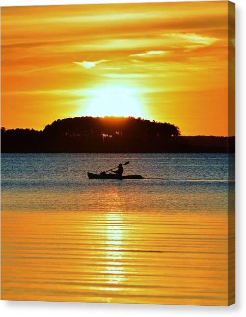 A Reason To Kayak - Summer Sunset Canvas Print