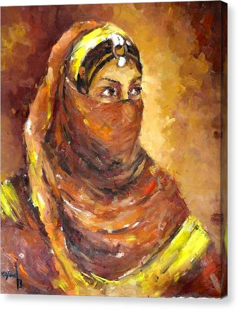 A Woman Canvas Print by Negoud Dahab