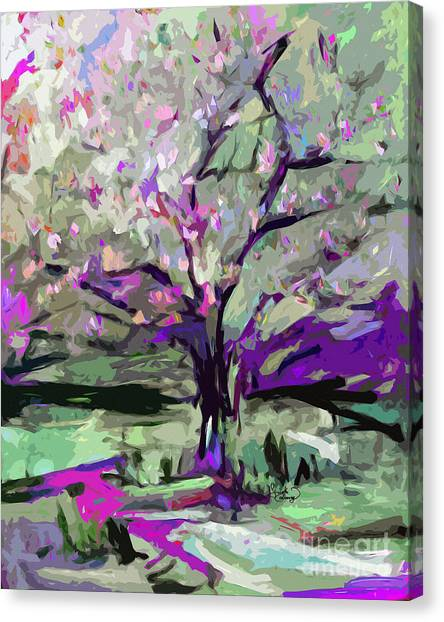 Abstract Art Tree In Bloom By Ginette Canvas Print