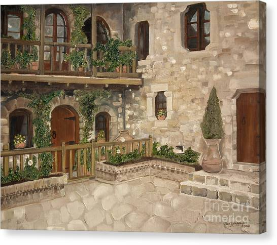 Greek Courtyard - Agiou Stefanou Monastery -balcony Canvas Print