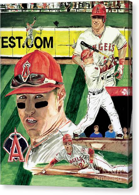 Los Angeles Angels Canvas Print -  Al 2012 Mlb Rookie Of The Year Mike Trout  by Israel Torres