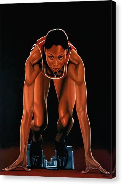 Athletics Canvas Print -  Allyson Felix Painting  by Paul Meijering