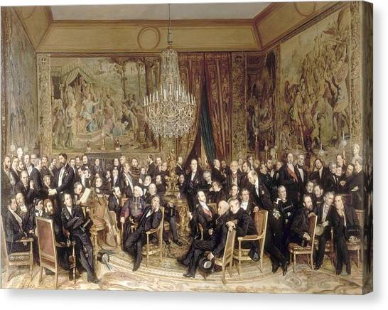 Le Louvre Canvas Print -  An Evening At The Louvre Count Nieuwerkerke by Celestial Images
