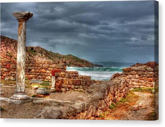 Ancient Ruins In Kefalos Kos Greece Canvas Print